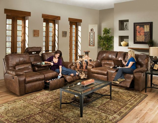 Casual Brown Motion Reclining Living Room Set W Storage Consoles Drawer