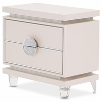 Michael Amini Glimmering Heights Modern 2-Drawer Nightstand in Ivory Vinyl Finish