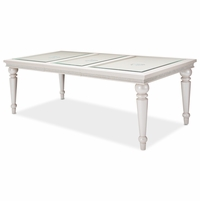 """Michael Amini Glimmering Heights Modern 4-Leg 64""""-87.75"""" Dining Table, Ivory Finish"""