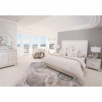 Michael Amini Glimmering Heights Modern 4pc King Bedroom Set in Ivory Finish