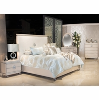 Michael Amini Glimmering Heights Modern 4pc Queen Bedroom Set in Ivory Finish