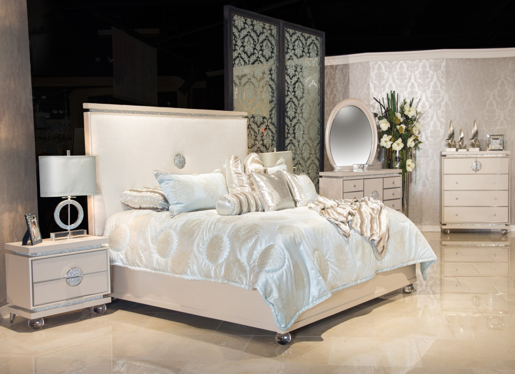 Michael Amini Glimmering Heights Modern 4pc Queen Bedroom ...