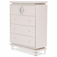Michael Amini Glimmering Heights Modern 5-Drawer Chest in Ivory Vinyl Finish