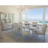 Michael Amini Glimmering Heights Modern 5pc Formal Dining Set in Ivory Finish