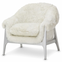 Michael Amini Glimmering Heights Modern Faux Fur Accent Chair in Platinum Finish