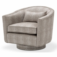 Michael Amini Glimmering Heights Modern Swivel Chair in Python Pattern Fabric