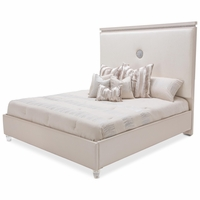 Michael Amini Glimmering Heights Modern Upholstered Queen Platform Bed, Ivory Finish