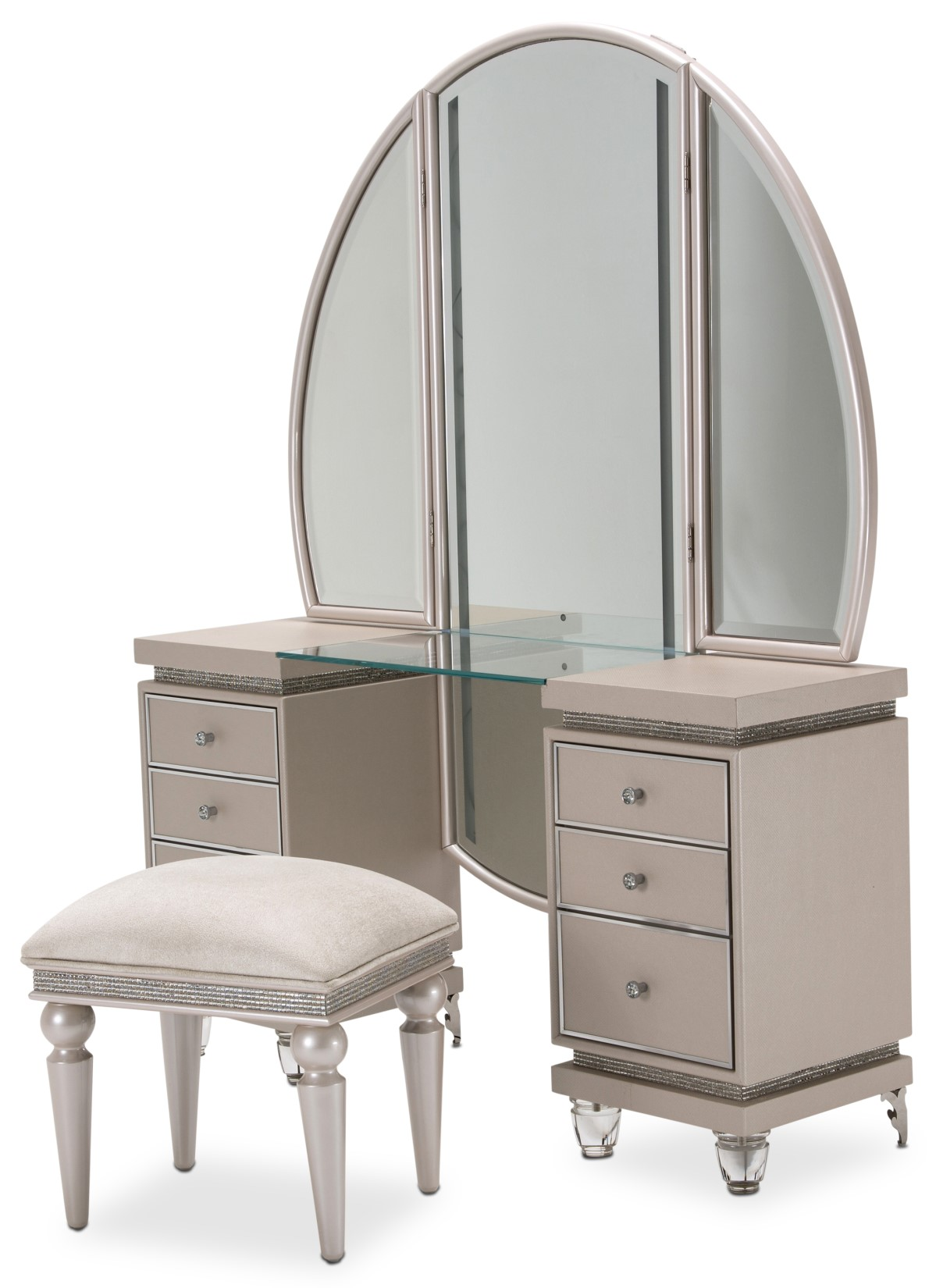 Michael Amini Glimmering Heights Modern Vanity Mirror w ...