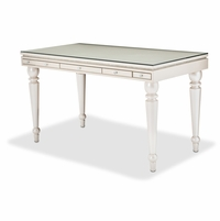 Michael Amini Glimmering Heights Modern Writing Desk w/ Glass Top in Ivory Finish