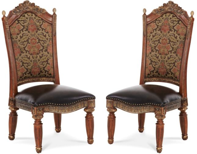Set of 2, Michael Amini Villa Valencia Traditional Style Side Chairs in Classic Chestnut