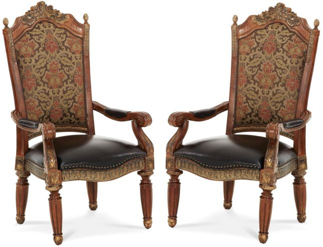Set of 2, Michael Amini Villa Valencia Traditional Style Arm Chairs in Classic Chestnut