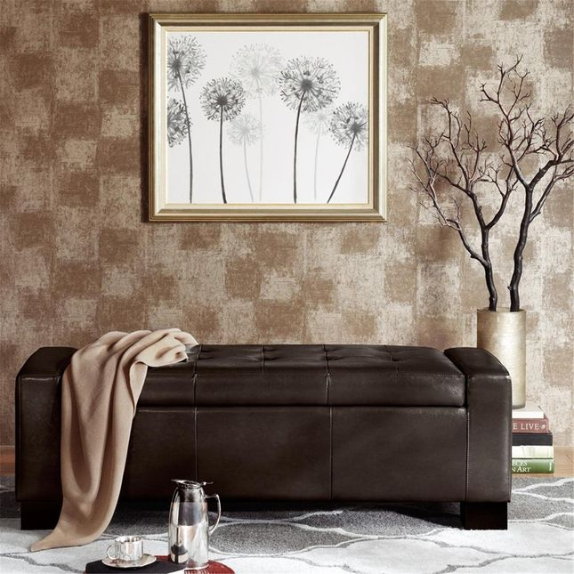 Mirage Tufted Top Storage Bench Synthetic Leather, Hard Wood Brown Madison Park