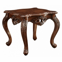 Modena Traditional Cherry Oak End Table With Ornate Carved Design
