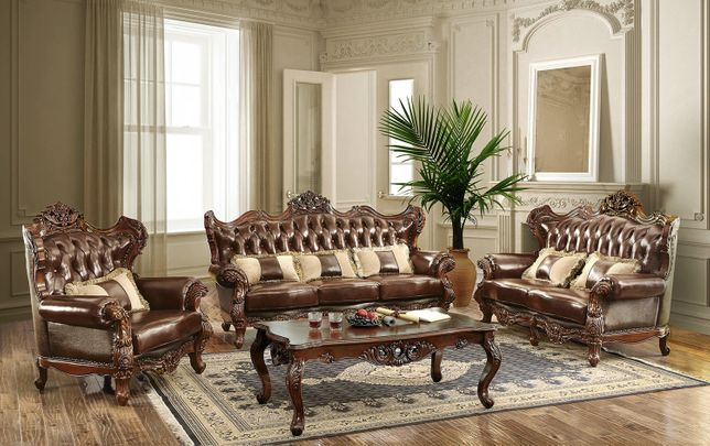 Modena Traditional Winged Back Sofa & Loveseat Set Brown Tufted Genuine Leather