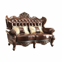 Modena Winged Back Beige Loveseat Brown Button Tufted Genuine Leather