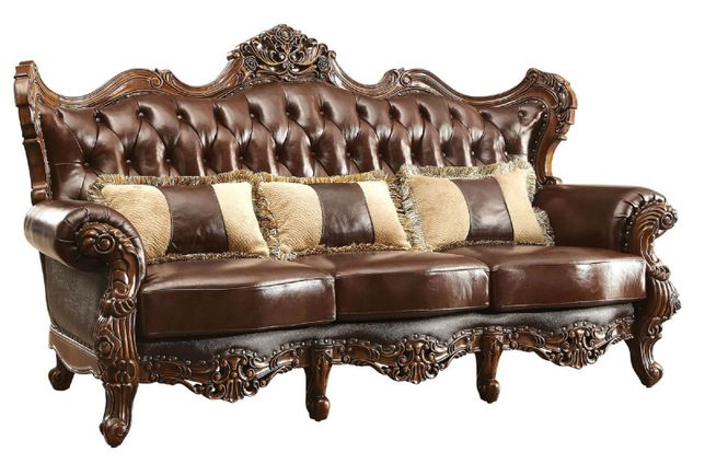 Modena Winged Back Victorian Sofa Brown Button Tufted