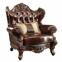 Modena Winged Back Chair Brown Button-Tufted Genuine Leather