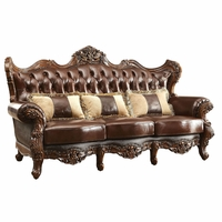 Modena Winged Back Victorian Sofa Brown Button Tufted Genuine Leather