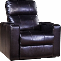 Larson Black Bonded Leather Power Recliner w/ Storage Arms, USB and Swivel Tray