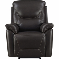 Modern Contemporary Home Genuine Leather Manning Rocker Recliner, Black,Brown