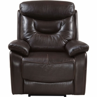 Modern Contemporary Home Genuine Leather Summit Style Power Recliner/USB, Brown