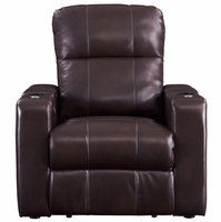 Larson Brown Cocoa Bonded Leather Power Recliner w/Storage Arms, USB & Tray