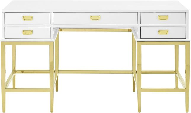 Modern Farmhouse Contemporary White Painted Desk With A Brushed Gold