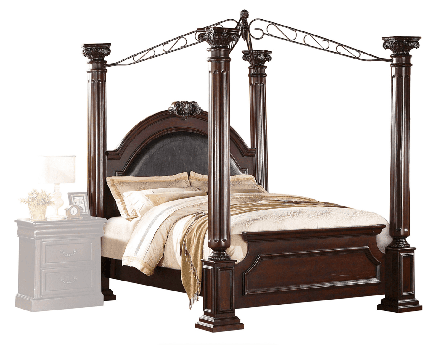 Renaissance Traditional King Canopy Poster Bed Upholstered