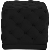 Neville Contemporary Deep Button-Tufted Cube Ottoman in Plush Black Velvet