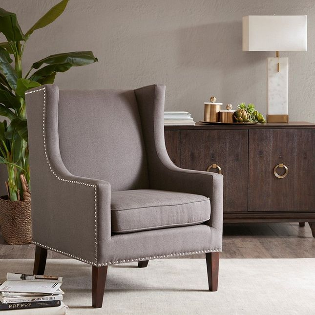 Barton Wing Chair Hard Wood, Eclectic Grey Modern Contemporary Madison Park