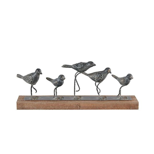 Birds Decor Flock Family Figurine in Antiqued Gray Finish on Natural Wood Base