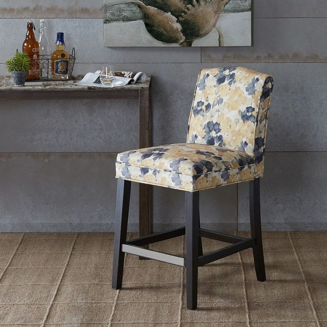 New Camel Counter Stool Hard Wood Yellow Transitional