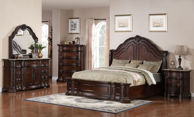 New Cherry Brown Red European Poster Bedroom Set California King Bed &Nightstand