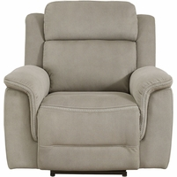 New Home Meridian Noah Power Recliner Powered Headrest Padded Pillow Top, Brown
