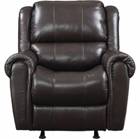 Prime Resources Rocker Recliner Chair in Chocolate Brown Leather Match Finish