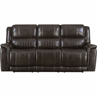 New Home Prime Brown Genuine Leather Hearst Power Reclining Sofa/Power Headrests