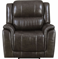 New Home Prime Modern Brown Genuine Leather Hearst Power Recliner/Power Headrest