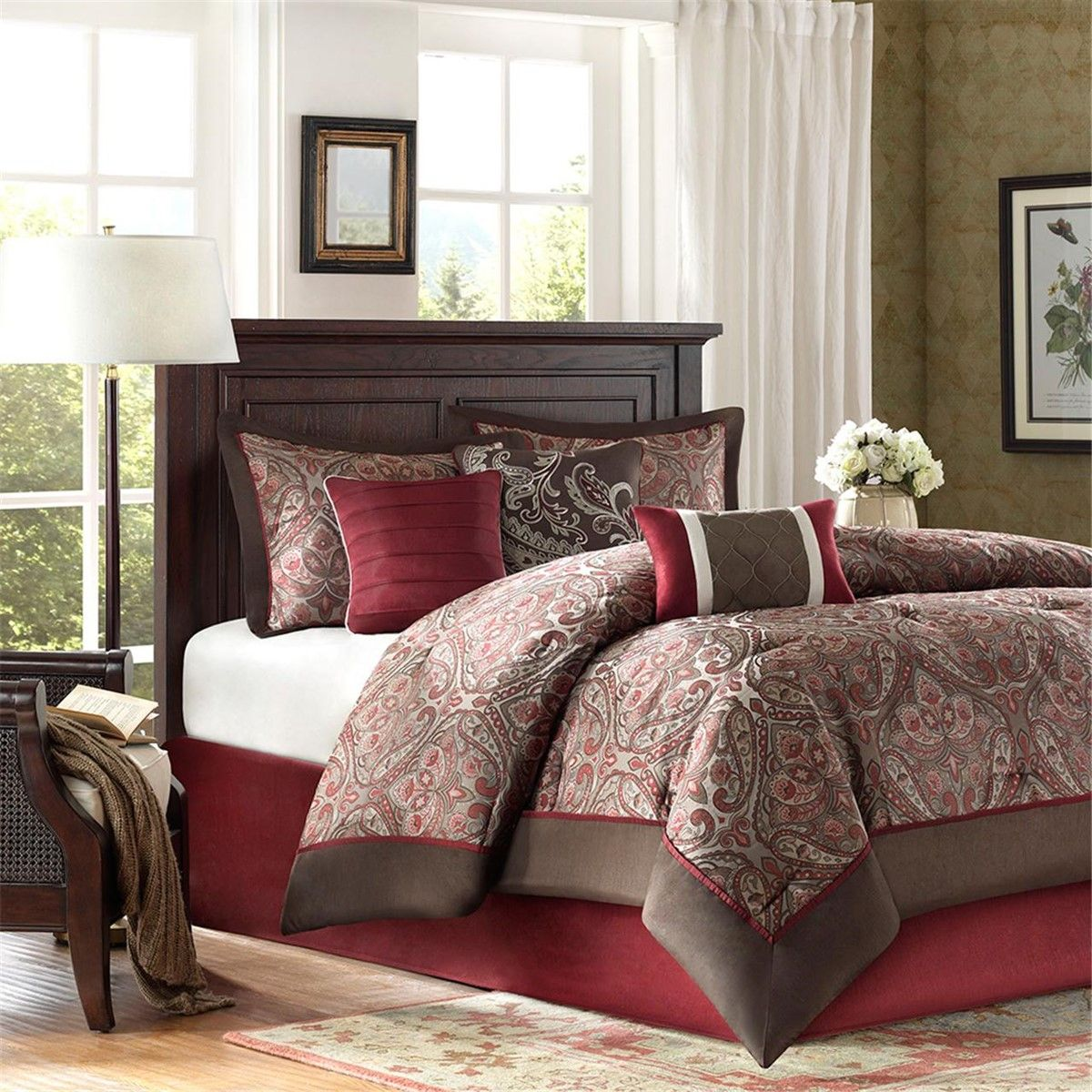 new king size talbot 7 piece comforter set red traditional