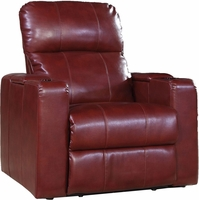 Larson Red Cranberry Bonded Leather Power Recliner w/Storage Arms, USB & Tray