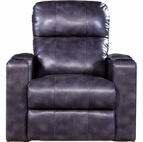 Larson Magnetite Grey Bonded Leather Power Recliner w/Storage Arms, USB & Tray