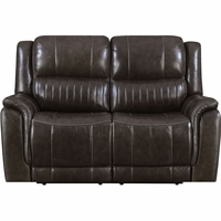 New Prime Brown Genuine Leather Hearst Power Reclining Loveseat/Power Headrests