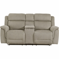 New Prime Resource Noah Power Reclining Console Loveseat Power Headrests, Brown