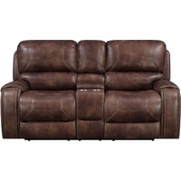 New Prime Resources Jennings Collection Power Reclining Console Loveseat, Brown