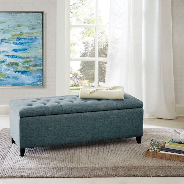 Shandra Tufted Top Storage Bench Hard Wood Blue Contemporary Park Madison