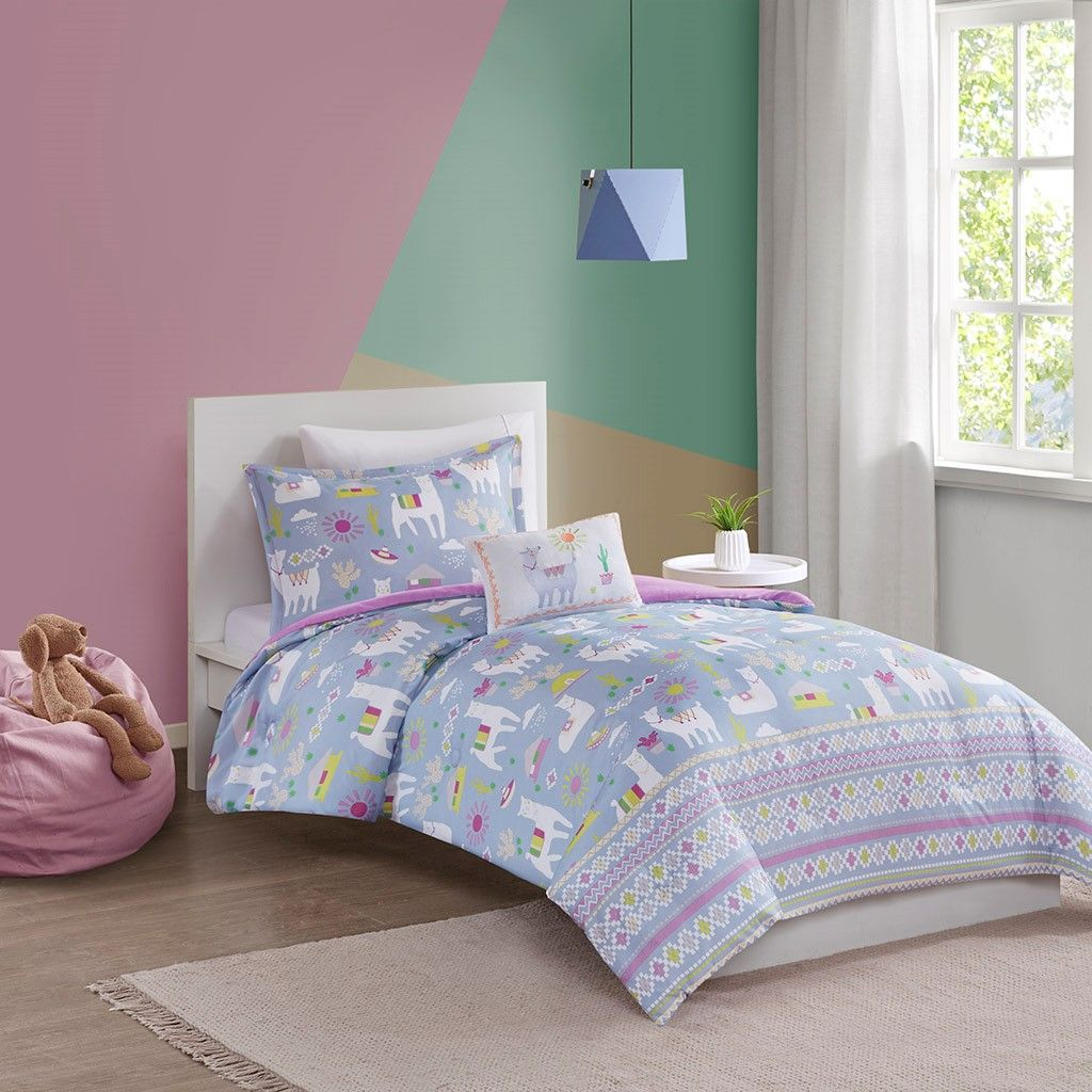 New Twin Size Andes Printed Llama Comforter Set Micro