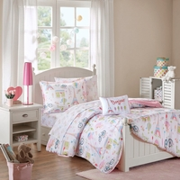 New Twin Size Bonjour Complete Bed and Sheet Set Micro Fiber Pink Mi Zone Kids