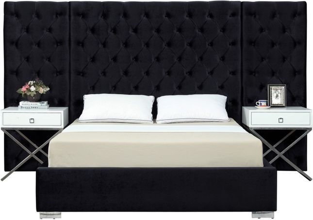 Nyle Modern Black Button-Tufted Velvet King Bed with Side Panels & Chrome Legs