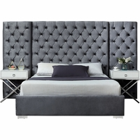 Nyle Modern Grey Button-Tufted Velvet Queen Bed with Side Panels & Chrome Legs