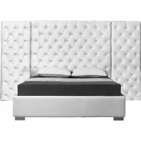 Nyle Modern White Button-Tufted Velvet Queen Bed with Side Panels & Chrome Legs