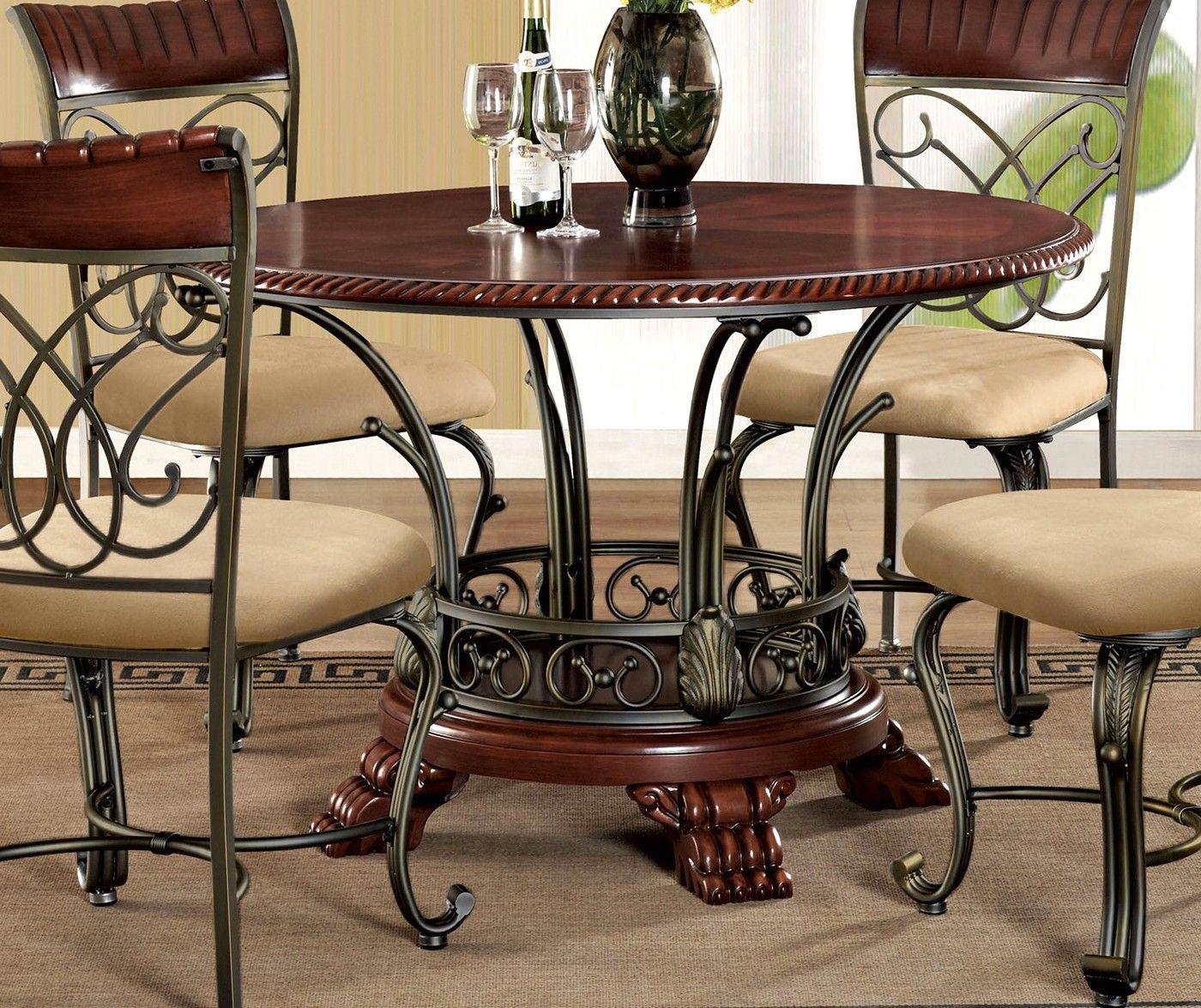 """5pc Dining Table Set: Obasi 5-pc Casual Round 48"""" Cherry Finished Dining Table"""